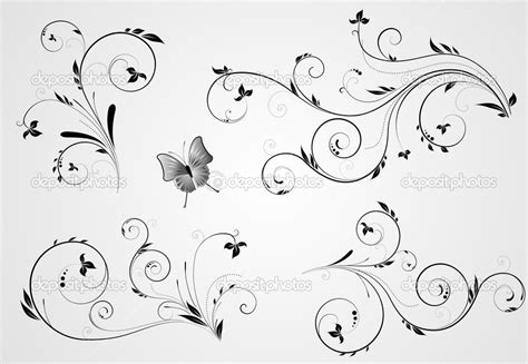 tattoo font with swirls set of floral swirl designs stock vector 8587663