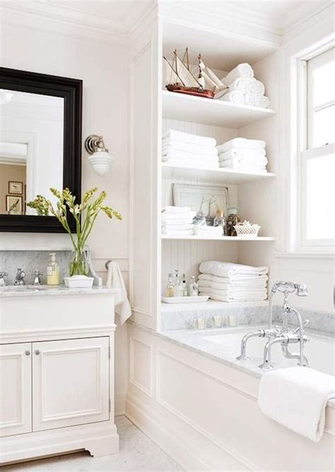 Built In Shelves In Bathroom 25 Best Ideas About Bathtub Storage On Clever Storage Ideas Clever Bathroom