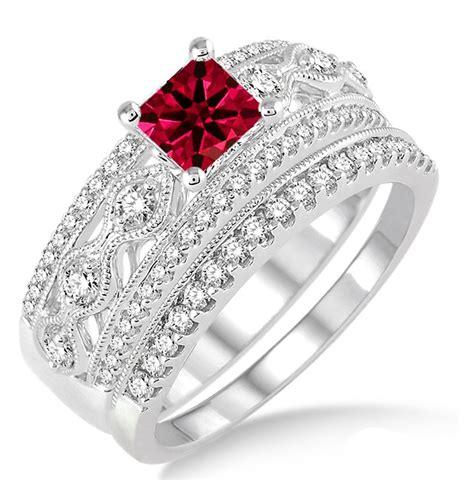 Rubi 6 5 Carat 1 5 carat ruby antique bridal set engagement