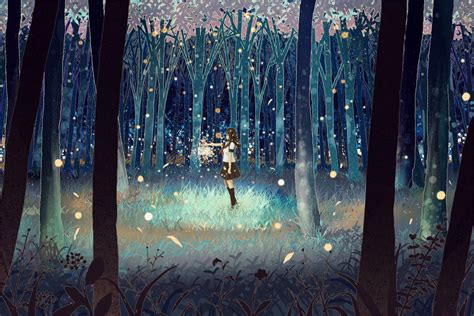 anime girl with fireflies firefly forest kawaii wallpaper