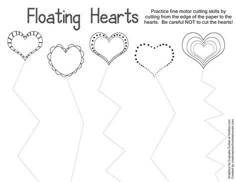 free printable cutting worksheets for preschool valentine trace cut printables creative preschool