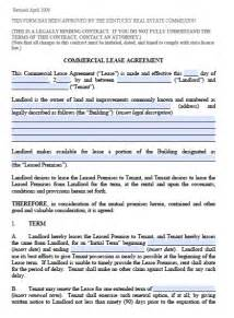 Commercial Lease Agreement Template Pdf Free Kentucky Commercial Lease Agreement Pdf Template