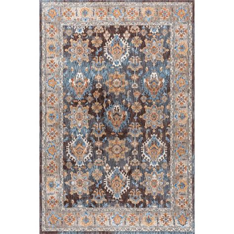 Tayse Rugs Fairview Brown 6 Ft 7 In X 9 Ft 6 In Area Rugs 6 Ft