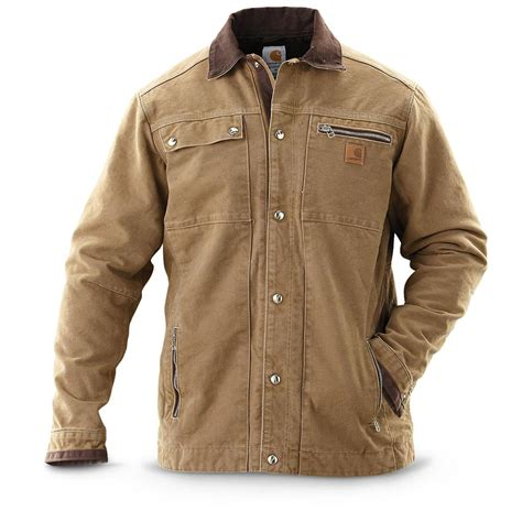 carhartt coat carhartt 174 sandstone multipocket jacket 209297 insulated jackets coats at