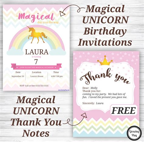Thank You Letter Invitation Birthday Unicorn Birthday Invitations And Thank You Notes Free Growing Play