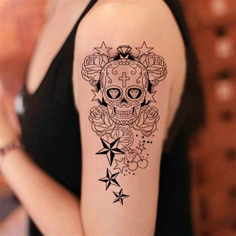 temporary large arm tattoo stickers skull star designs