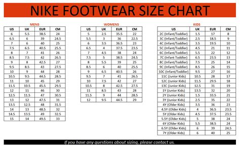 Galerry kid size chart nike