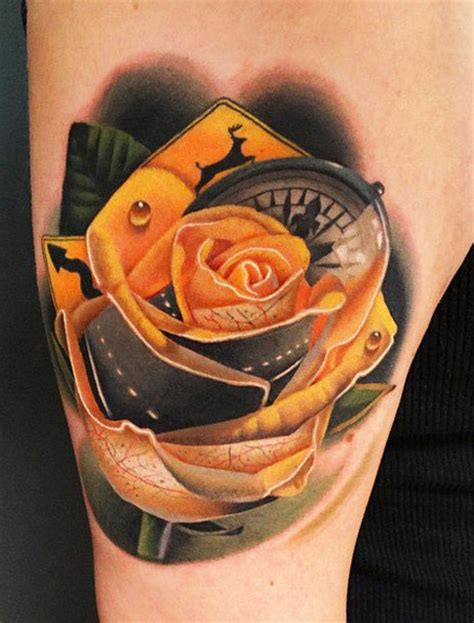 black and yellow rose tattoo yellow by andres acosta design of