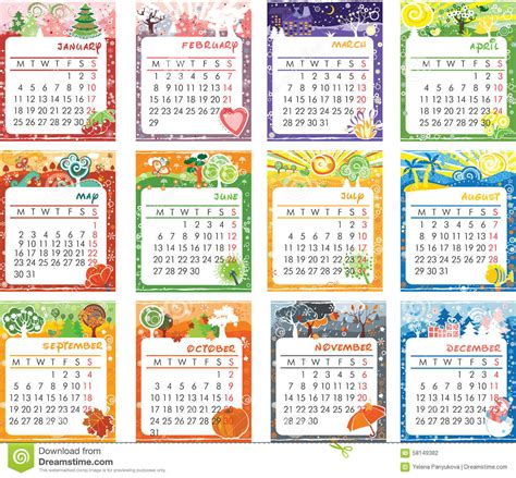 Calendã 2016 Pdf Portugal Calendar 2016 Design Stock Illustration Image Of