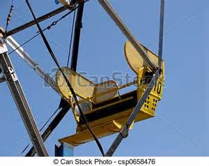 stock image of ferris wheel up of 1 seat on a