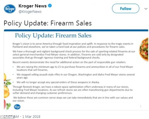 Kroger Background Check Kroger Joins Other Big Retailers Tightens Gun Daily