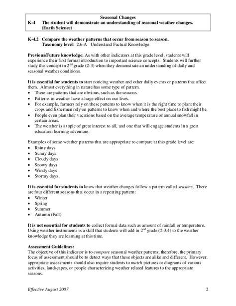kindergarten pattern objectives kindergarten science weather
