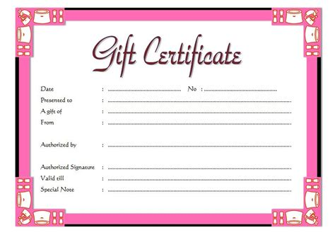 Free Gift Card Forms Template by Gift Certificate Template 5 The Best Template Collection