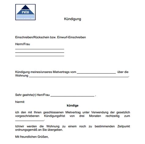 Musterbrief K Ndigung Wohnung Word vorlage k 252 ndigung mietvertrag dokument blogs