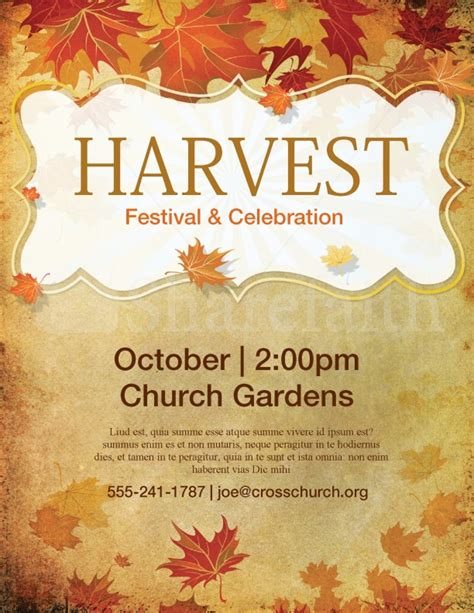 church harvest festival flyer template lords acre
