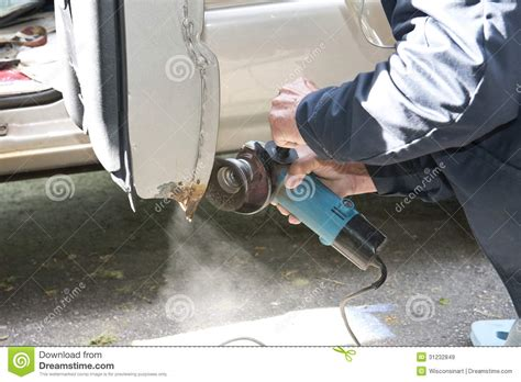 How To Stop Rust On Car Door by Car Repair To Remove Rust Royalty Free Stock