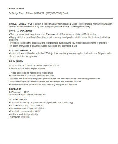 Pharmaceutical Sales Rep Resume by 7 Sle Pharmaceutical Sales Resumes Sle Templates