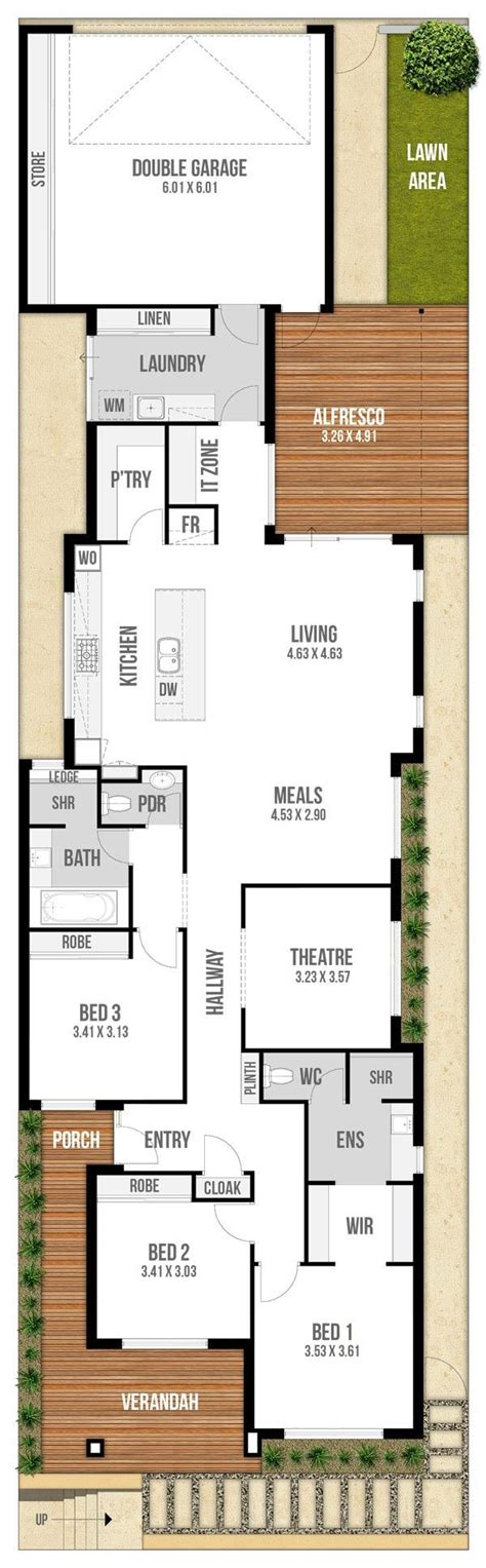 narrow block house plans floor plan friday narrow block with garage rear lane access