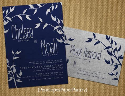 navy white and silver wedding invitations navy and silver wedding invitationselegant vinestree