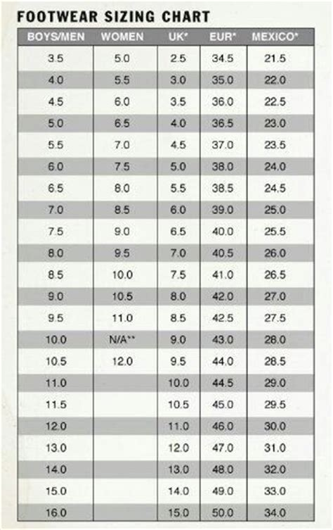 shoe size chart from mexico to usa shoe size us to mexico style guru fashion glitz