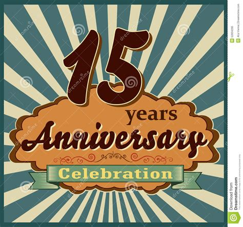 15 years celebration anniversary retro style card stock