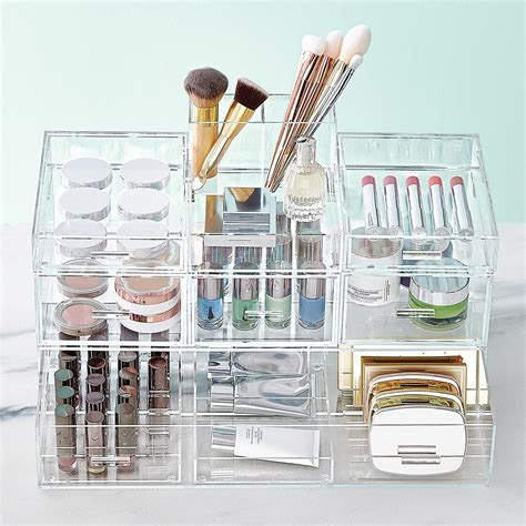 bathroom makeup organizers luxe acrylic modular makeup storage the container store