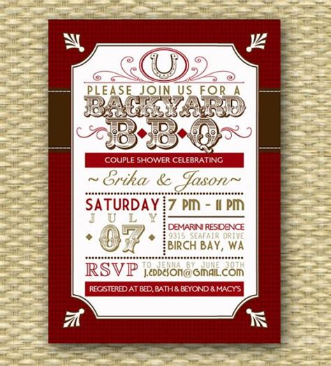 bbq themed bridal shower ideas 2 backyard bbq wedding shower invitation rustic country