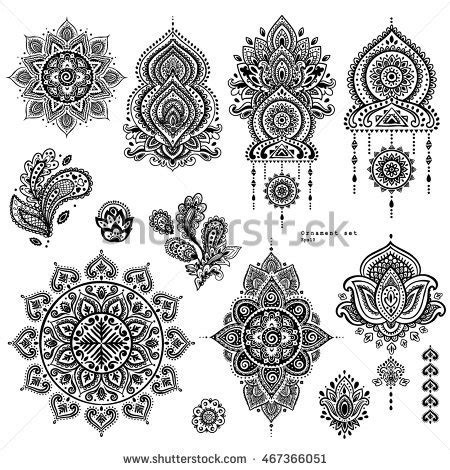 indian floral set ethnic mandala ornament vector henna henna stock photos royalty free images vectors