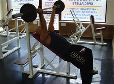 reverse incline bench press reverse grip incline bench press exercise by body part