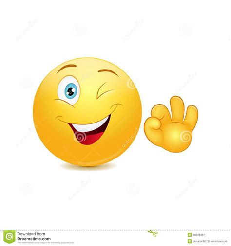 smiley emoticon with ok sign royalty free stock