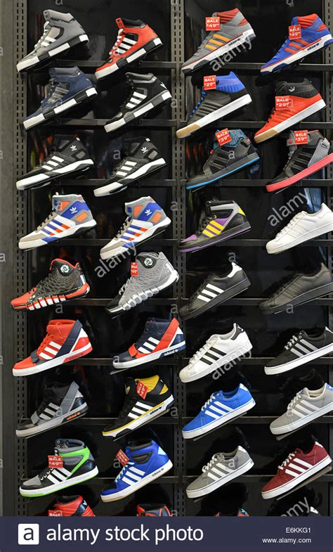colorful display of adidas athletic shoes at foot locker