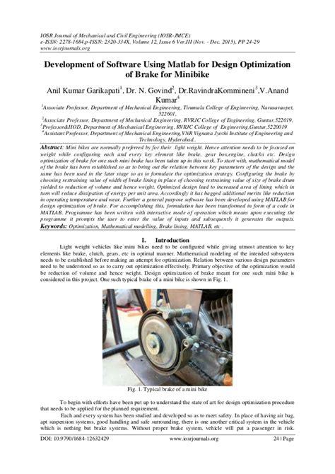 Development Of The Brake System Design Program For A Vehicle Development Of Software Using Matlab For Design