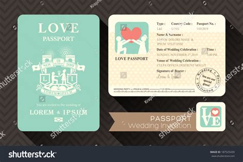 passport invitation template free passport wedding invitation card design template stock
