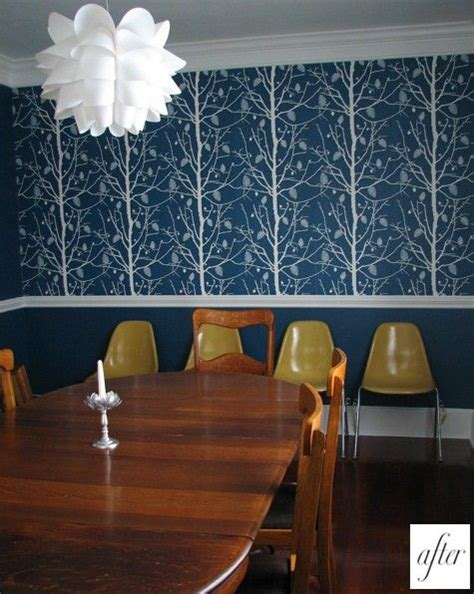 wallpaper dining room chair rail chair rail bold wallpaper decorating