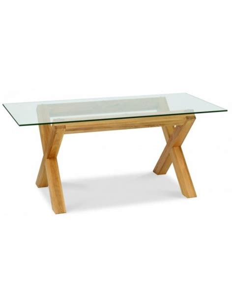 6 Seater Oak Dining Table Bentley Designs Lyon Oak 6 Seater Glass Top Dining Table