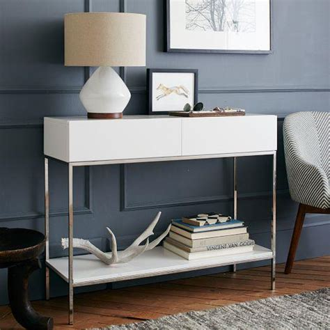 White Console Table With Storage by White Lacquer Storage Console
