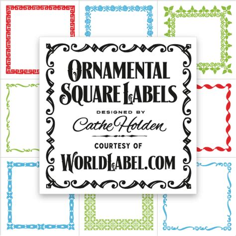 printable square tags ornamental square labels by cathe holden worldlabel blog