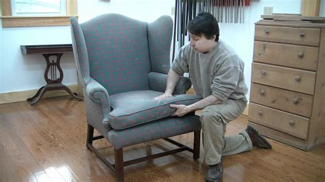 how to recover a bench reupholster a wing chair pt 1 evaluation youtube