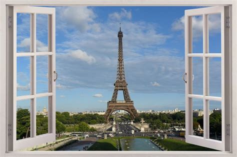 3d window huge wall sticker mural wallpaper decor paris