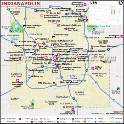 map usa indianapolis map showing the airports hotels tourist info about