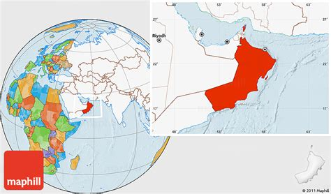 oman location in world map political location map of oman highlighted continent