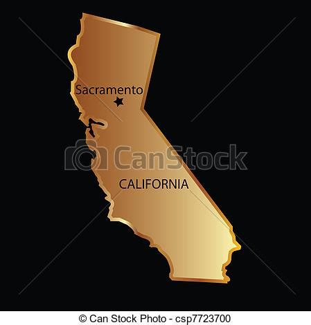 california map graphic vector clipart of gold california state map gold