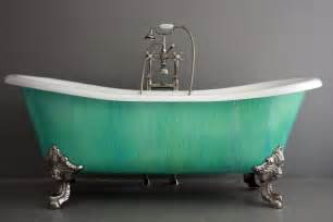 Freestanding Tub Faucets Brushed Nickel The Cathryn Adele 73 Quot Double Slipper Verdigris Copper Patina