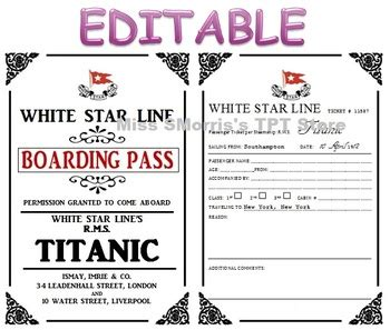 printable titanic boarding pass template editable titanic passenger tickets by sheena morris tpt
