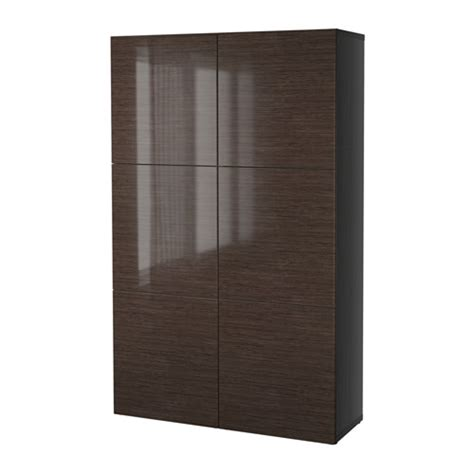 Besta High Gloss best 197 storage combination with doors black brown selsviken high gloss brown ikea