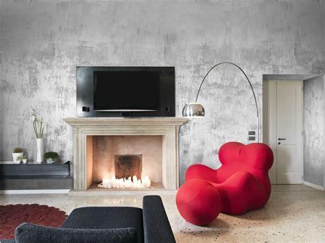 Exceptionnel Peinture Argent Pour Meuble #2: peinture-effet-m%C3%A9tal-argent-fauteuil-design-rouge-repose-pieds.jpg