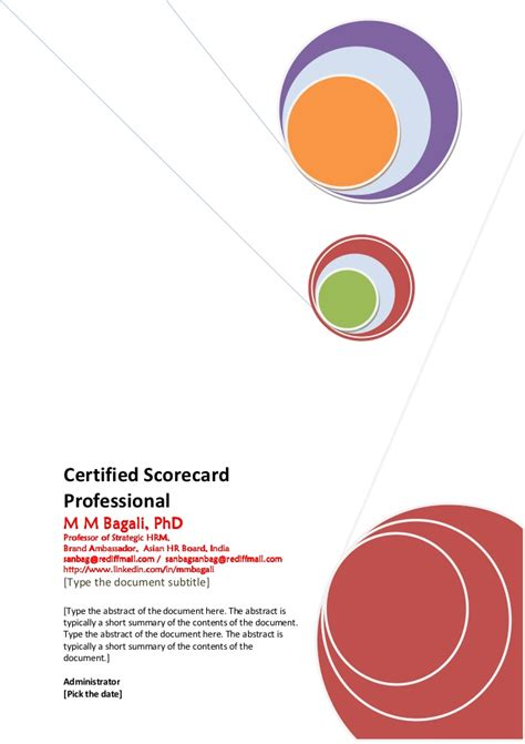 Institut Mba by Balanced Scorecard For Mba Institute