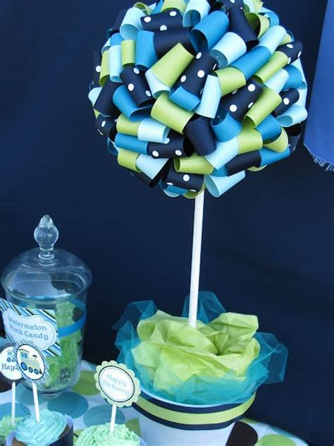 how to ribbon topiary for centerpiece first communion