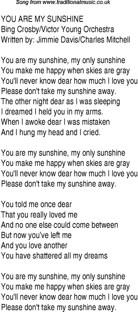 my lyrics 1940s top songs lyrics for you are my