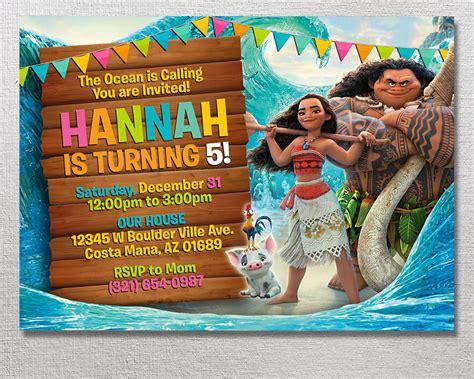 Invitation Card Moana moana invitation moana birthday disney moana invite